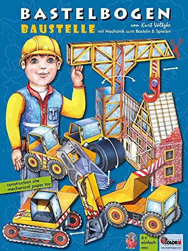 Baustelle Bastelbogen mit Papiermechanik: 3d bespielbarer Bagger, Kran, Radlader, Muldenkipper, Walze zum Basteln aus Papier für Kinder ab 6+