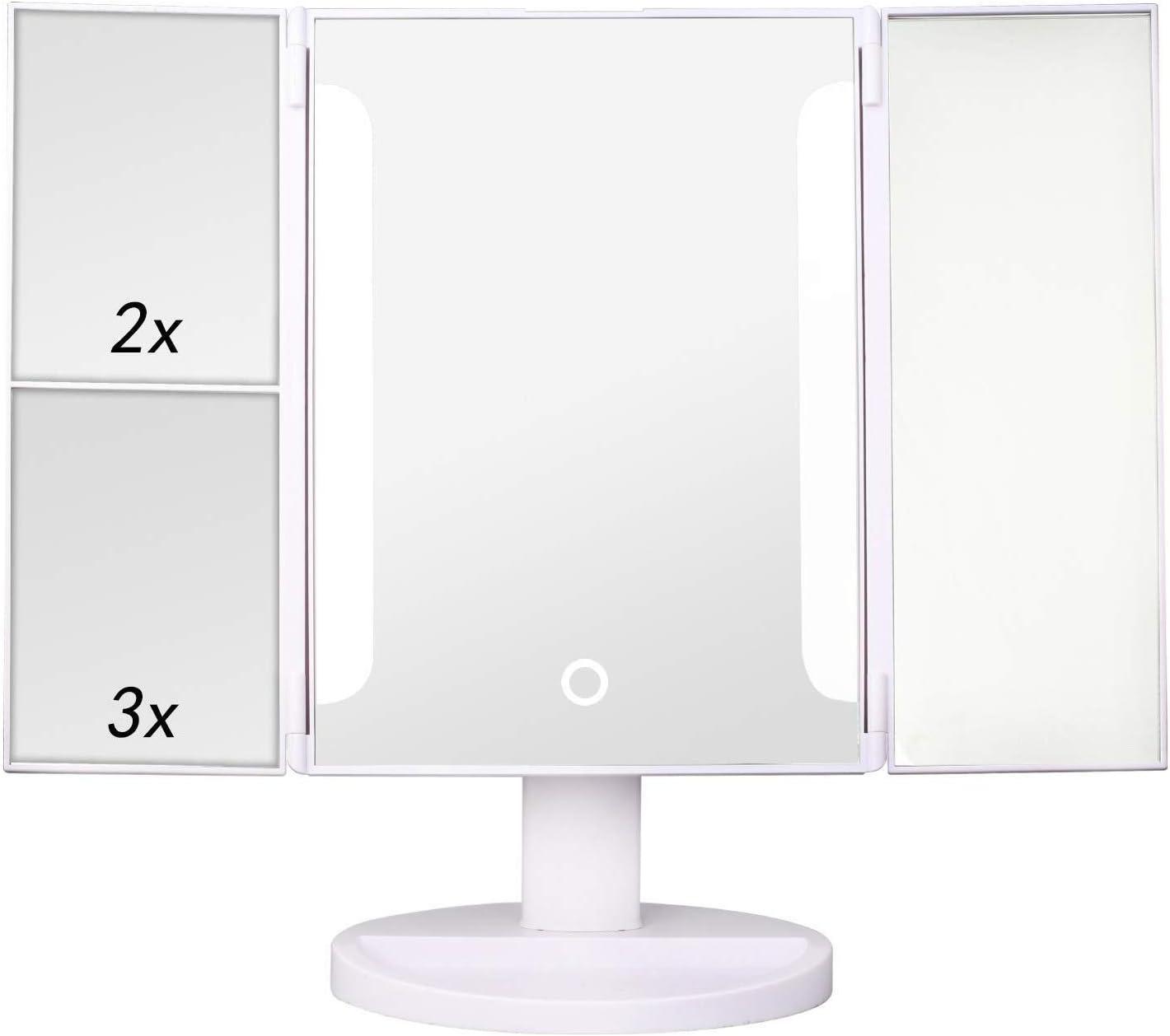 KXA LED Tri-Fold Makeup Mirror 1X Led 2 Sale Import SALE% OFF Vanity Lighted