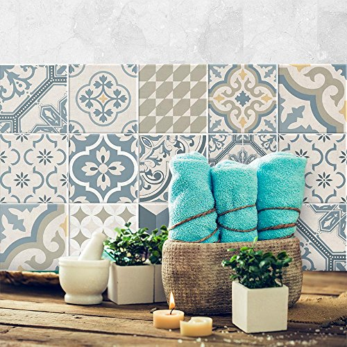 12 Pieces 15x15 cm - PS00086 Adhesivo Decorativo para Azulejos para baño y Cocina Stickers Azulejos - Made in Italy - Stickers Design