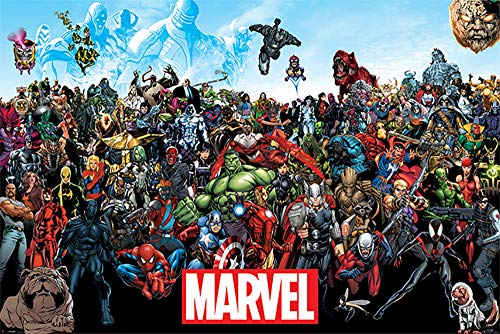 Marvel Comics Universe - Comic Poster/Print (All Marvel Characters) (Size: 36 inches x 24 inches)