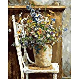 BAISITE DIY Paint by Numbers for Adults,16'Wx20'L Canvas Pictures Drawing Paintwork with Paintbrushes,Acrylic Pigment-Flowers BSC003