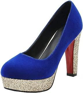 RAZAMAZA Woman High Heel Pumps Closed Toe Glitter Court Shoes