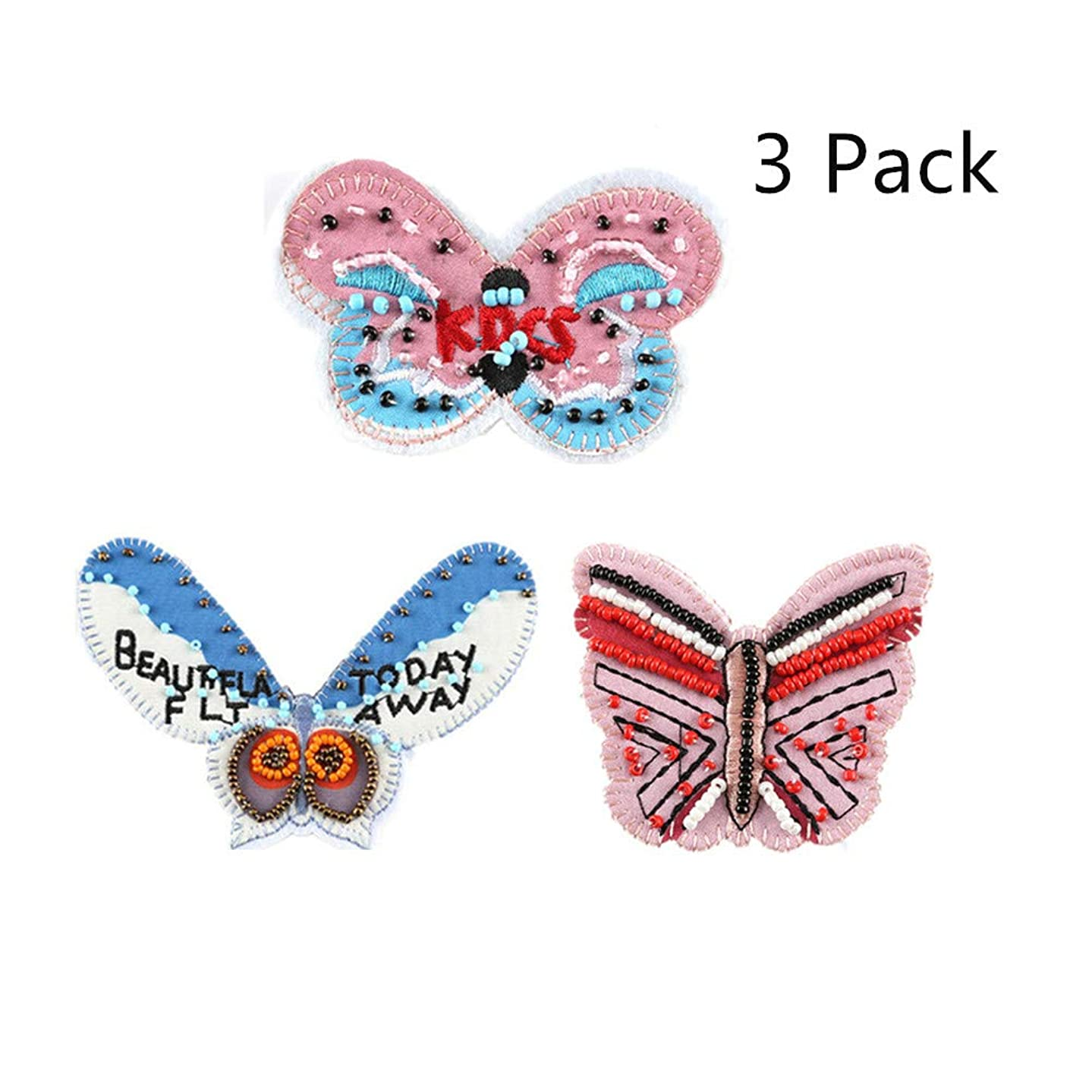 Iron On Patches, 3D Handmade Colour Beaded Butterfly Applique DIY Accessories Motif Applique Kit Sew On Patches for Jackets, Jeans, Clothing, Backpacks for Children Child Girls -3 Pack