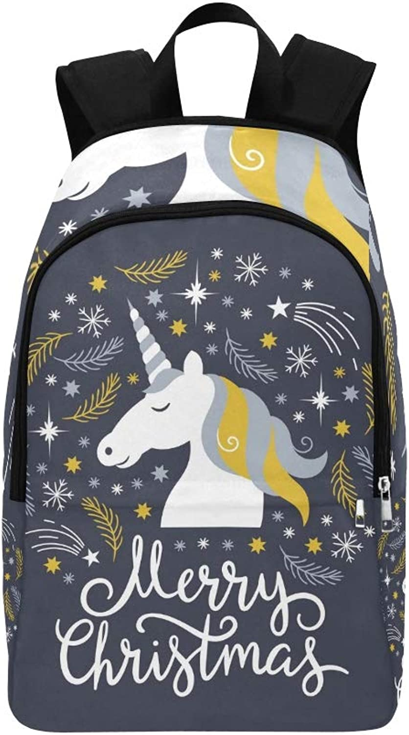 Christmas Merry Christmas Unicorn Casual Daypack Travel Bag College School Backpack for Mens and Women