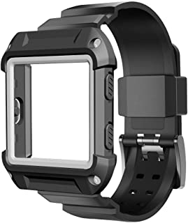 Fitbit Blaze Accessory, UMTELE [Rugged Pro] Resilient Protective Case with Strap Bands for Fitbit Blaze Smart Fitness Watch,Black(Case band with color white)
