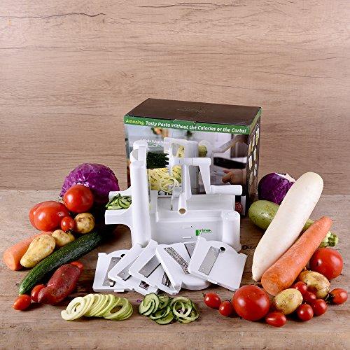 Food and Vegetable Spiralizer Mandoline Slicer - 5 Blade Spiral Chopper Peeler - Kitchen Gadgets plus Vegetable Scissor