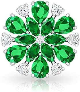 3.87 CT Marquise Pear Shaped Lab Created Emerald Earring, Antique Certified Moissanite Cluster Snowflake Studs, Women Gems...