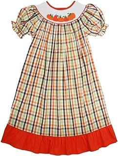 Girls Smocked Pumpkins Plaid Float Dress Infant Toddler Big Girls 6m-6T