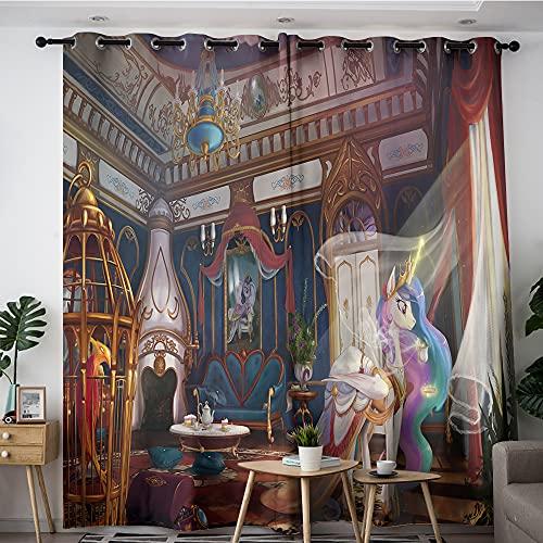 My Little Pony Princess Celestia - Cortinas opacas con diseño de princesa Celestia para dormitorio de 132 x 157 cm