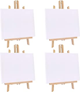 Jekkis 4 Packs Tabletop Easel with Canvas Sets, 16 x 9.5 Inches Wooden Easels and 12 x..
