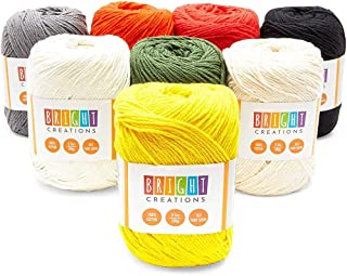 Cotton Skeins Yarn for Knitting, Crocheting, Crafts (1320 Yards, 8 Colors, 8 Pack)