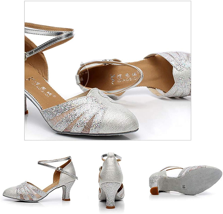 Closed Toe with Mesh Sequins Leather Womens Kitten Heel Ballroom Latin Salsa Dance shoes Sandals,Silver(Heel 5cm),39EU
