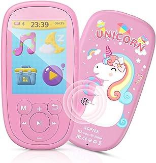 AGPTEK Reproductor Mp3 Bluetooth para Niños, K2 MP3 Niños con HD Pantalla de 2.4 Pulgada, Altavoz Interna, Ruido Blanco y Radio FM, Rosa