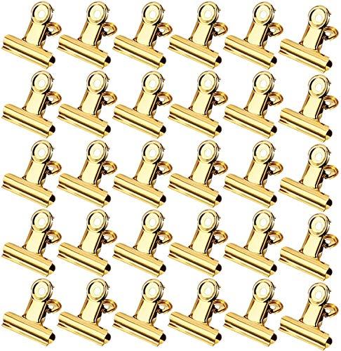 Vegena Oficina Clips, Pinzas de papel metálicas Bulldog Papel Clips Pinzas para etiquetasacero inoxidable clips papel Pinzas metálicas etiquetas bolsas imágenes y uso de la cocina casera (22mm) (30)