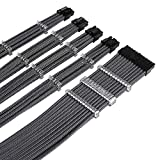 AQUIEIN Sleeved Cable Extension Type / for PSU / ATX 24 1ea, CPU 2ea, PCI-e 4ea (13.7 inch/ 35cm), Holder / (New Carbon Black)