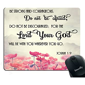 Smooffly Gaming Mouse Pad Custom, Christian Bible Verses Scripture Quotes Joshua-1-9 Pink Flowers Art - Be Strong and Courageous God Be with You