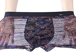85f8e0bb75 Fxwj Men Sexy Elastic Boxer Shorts Plus Size See Through Mesh Underwear  Sissy Translucent Transparent