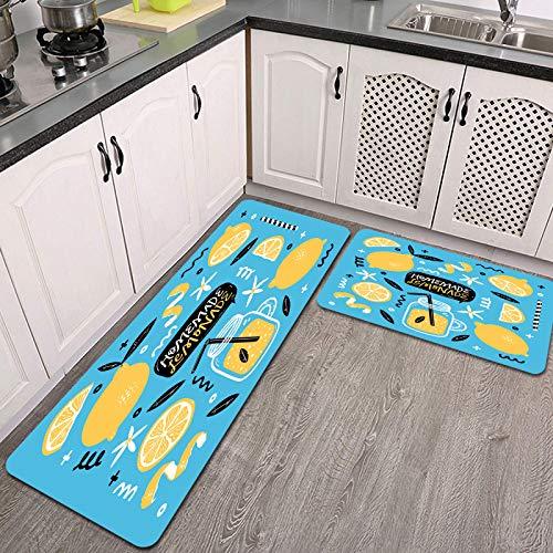 Juegos de alfombras de Cocina,Limón,Antideslizantes Lavables de 2 Piezas Alfombra súper Absorbente