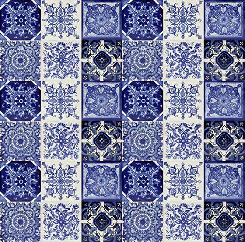 Cerames Piastrelle Messicane Talavera modelli blu Tono | 30 piezzi 10x10 cm | Mattonelle colorati, decorati | Specchio da parete cucina, bagno, WC