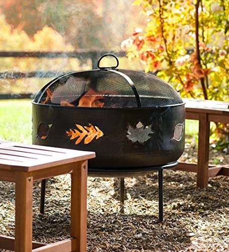 Discover Bargain Plow & Hearth Wood-Burning Fire Pit with Leaf Design