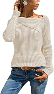 Women's Boat Neck Ribbed Knitted Jumper Sweater Long Sleeve Slim Fit Pullover White 4XL