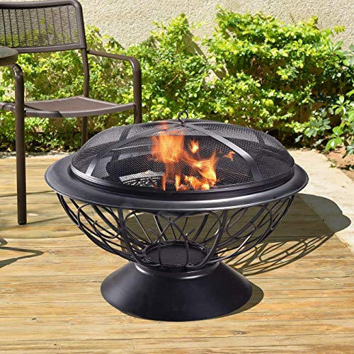 Peaktop - CU295 Outdoor Round Steel Wood Burning Fire Pit 30-inch- Black