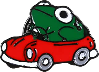 X-NOMIY 2PCS Novelty Animal Frog Enamel Pin, Frog Driving Car Brooch,Badge Brooch Jewelry Accessory for Bags Clothes Caps ...