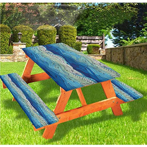 LEWIS FRANKLIN - Cortina de ducha acuática de lujo, cubierta de mesa de picnic, diseño a mano, diseño de olas marinas con bordes elásticos, 70 x 72 pulgadas, juego de 3 piezas para mesa plegable