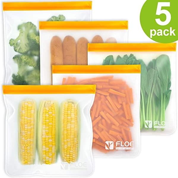 Reusable Gallon Freezer Bags 1 Gallon Ziplock Bags 5 PACK LEAKPROOF Gallon Storage Bags EXTRA THICK For Marinate Meats Fruit Cereal Sandwich Snack Travel Items Meal Prep Home Organization