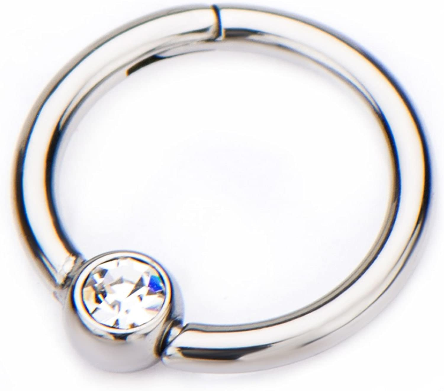 16G CZ Crystal Centered Stainless Steel Hinged Segment Ring for Septum, Nostril, Lip, and Ear Piercings