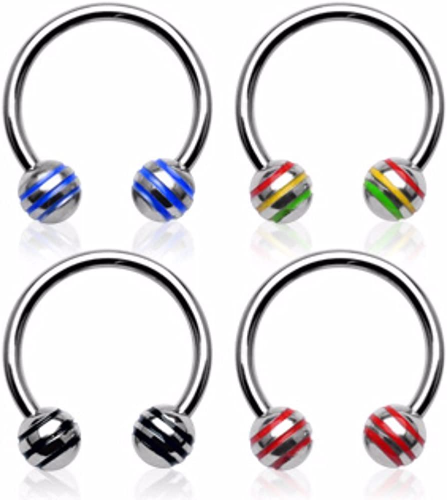 Covet Jewelry Striped Balls 316L Surgical Steel Horse Shoe