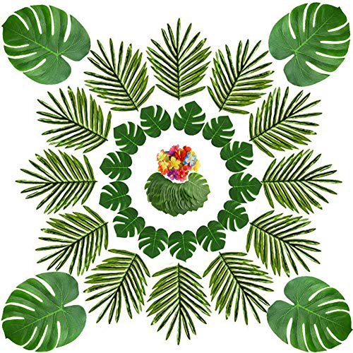 Dsaren Hojas de Palma Tropical Hojas de Monstera Simulación Flores de Hibisco para Fiesta Hawaiana Luau Jungle Beach Decoraciones de Mesa Temáticas 66 Piezas