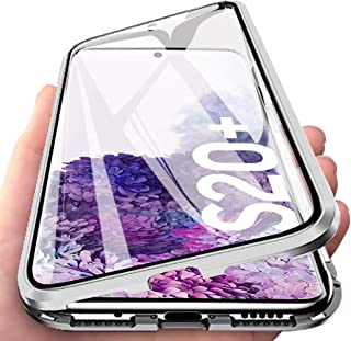 Ikwcase Galaxy S20 Plus Case, 360° Protection Full-body Screen Coverage Tempered Glass Back Metal Bumper with Magnetic Adsorption Flip Case Cover for Samsung Galaxy S20 Plus Silver