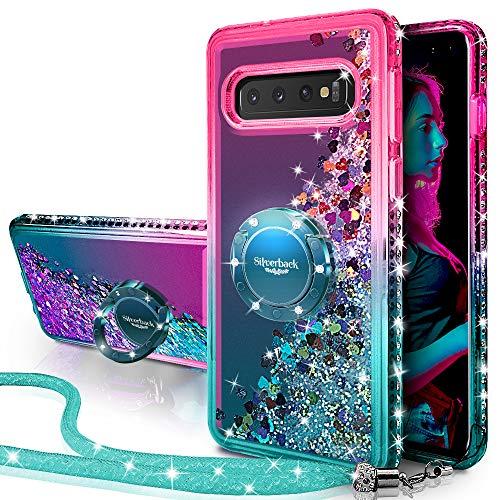 Galaxy S10 Plus Case, Silverback Moving Liquid Holographic Sparkle Glitter Case with Kickstand, Bling Diamond Rhinestone Bumper W/Stand Slim Samsung Galaxy S10 Plus Case for Girls Women -Green
