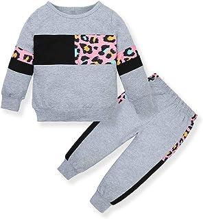 ZOEREA Bébé Fille Ensemble de Vêtements Mode Manches Longues Lettre Imprimer T-Shirt Tops + Pantalon à Léopard + Bandeau E...