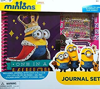 Minions Children's Journal Set Includes Journal With Lock 5 In x 7.5 IN, Sticker Sheet, Gel Pen , and Puffy Stickers with Gems Everything you Need For Your Child To Personalize Their Journal