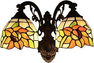Odziezet Aplique Tiffany Lamp Vintage Mini Lámpara de Pared Iluminación para Interior y Exterior Girasol 2 Lámparas