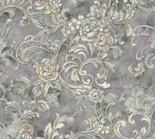 Architects Paper Vliestapete Kind of White by Wolfgang Joop Tapete Luxustapete klassisch floral 10,05 m x 0,53 m grau metallic lila Made in Germany 340774 34077-4