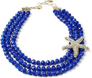Tulum Starfish Statement Bib Necklace, Blue