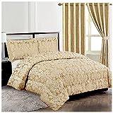 Homes & Deco Diana - Set di biancheria da letto in tessuto jacquard trapuntato con motivo floreale, 3 pezzi, Beige, Doppio