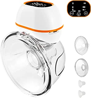 Upgraded Wearable Electric Breast Pumps, Hands-Free Breastpump with LCD Display,3 Modes & 9 Levels Adjustment,Battery Powe...
