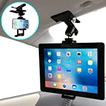 Car Smartphone Tablet Stand Mount Holder for The Sun Visor and Rear Seat of The Car, 360° Rotation (for 4.0-9.7 inch Tablets and Smartphones)
