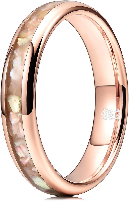 THREE KEYS JEWELRY Womens 4mm Tungsten Wedding Rings Purple Shell Inlaid Engagement Bands