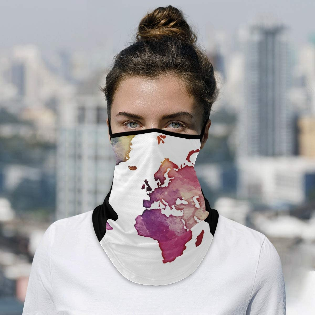 4 years warranty DAOXIANG World Map Watercolor Neck Mask famous Face Reusable Cl Gaiter