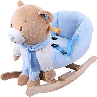 Atten Child Rocking Horse Toy,Small Animal Rocker, Plush Rocker Toy for 1-5 Years, Wooden Rocking Bear Chair Child Rocking...
