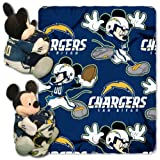 NFL Los Angeles Chargers Co-Brand Disney Mickey Mouse Hugger & Fleece Throw Set, 40' x 50'