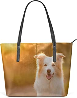 Laptop Tote Bag The Golden Retriever In The Sun Large Printed Shoulder Bags Handbag Pu Leather Top Handle Satchel Purse Lightweight Work Tote Bag For Women Girls