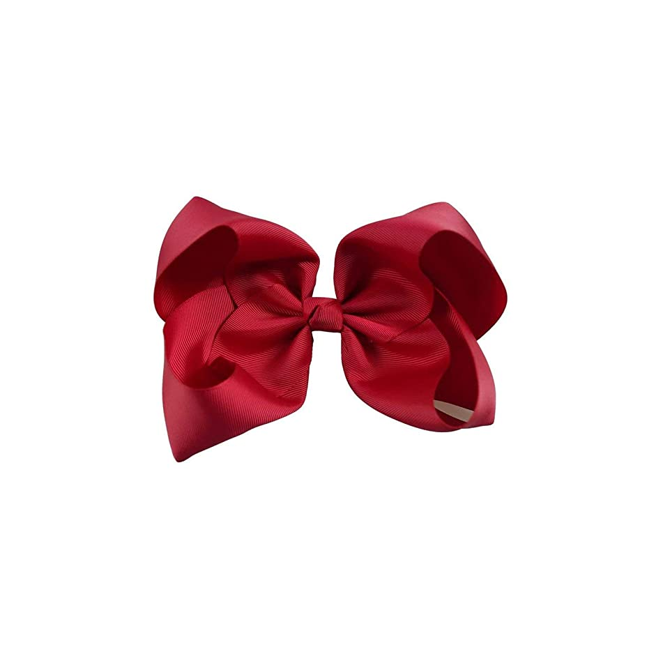 Headband Handmade Solid Large Hair Bow for Girls Kids Grosgrain Ribbon Bow with Clips