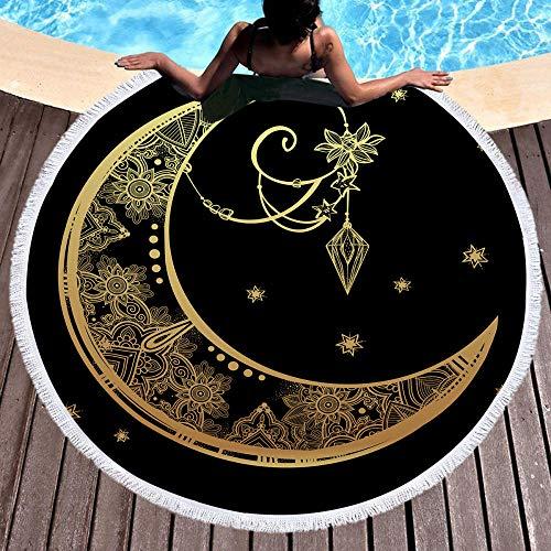 AMZJIEFU Toalla de baño de Microfibra para Yoga Toalla de Playa Redonda de Verano para Adultos Estampado Boho Toalla Tapiz de Luna y Borla de Sol