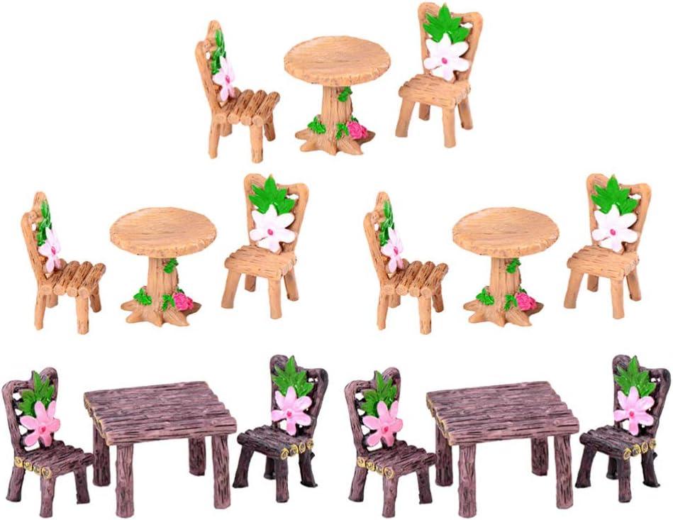 Yardwe - Juego de 5 unidades, diseño de hadas en miniatura para muebles de jardín de micro resina, mini mesa y sillas